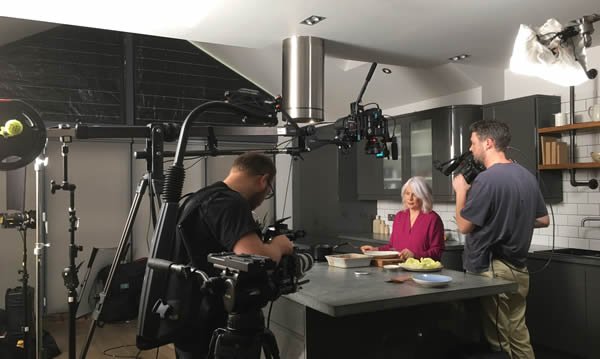 Filming with Silvana Franco in the kitchen