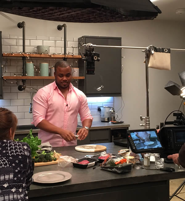 Selasi on location in the kitchen